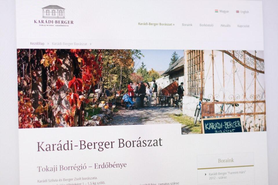 Elindult a Karádi-Berger Borászat új veboldala